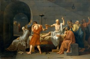 Óleo sobre tela. A morte de Sócrates por Jaques-Louis David 1787